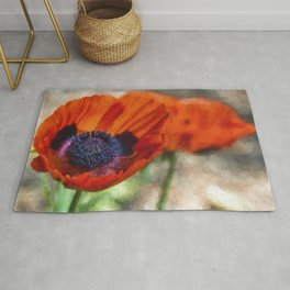 Two Poppies Painterly Rug