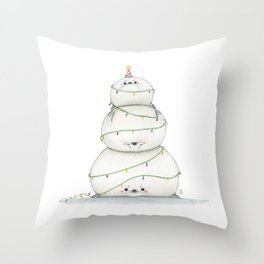 A very sealy Christmas tree Throw Pillow