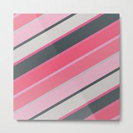 Pink and Gray Diagonal Stripes Metal Print