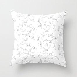 flock - linear birds pattern Throw Pillow