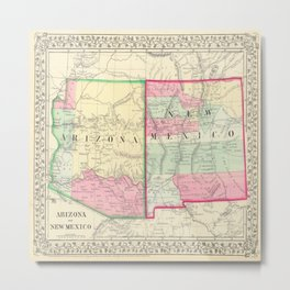 New Mexico and Arizona Map print from 1867 Metal Print
