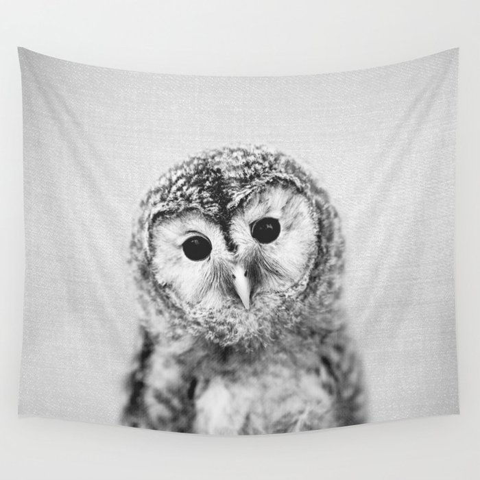 Baby Owl - Black & White Wall Tapestry