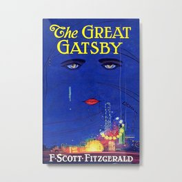 Great Gatsby Poster: F Scott Fitzgerald Book Cover Print Metal Print