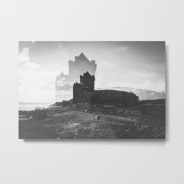 Ross Castle in Ireland - Black and White Double Exposure Metal Print