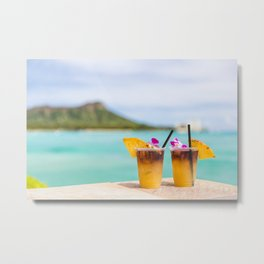 Hawaii Mai Tai Drinks in Honolulu Waikiki beach vacation Metal Print