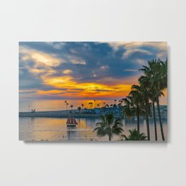 Sunset Sails at the Wedge Metal Print