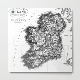 Vintage Black and White Ireland MAp Metal Print