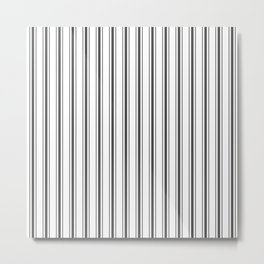 Mattress Ticking Wide Striped Pattern Black and White Metal Print