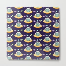 Pattern astronaut elephant: Galaxy mission Metal Print