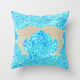 Kissing Dolphins Throw Pillow