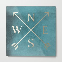 Gold on Turquoise Distressed Compass Adventure Design Metal Print