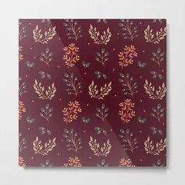 RED MERLOT FLORAL FALL Metal Print