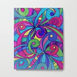 Drawing Floral Doodle G1 Metal Print