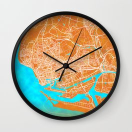 Le Havre, France, Gold, Blue, City, Map Wall Clock