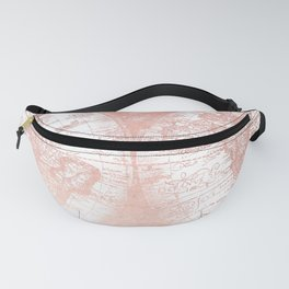 Rose Gold Pink Antique World Map by Nature Magick Fanny Pack