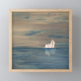 Floating Feather. Abstract Painting by Jodi Tomer. Abstract Feather on Water. Framed Mini Art Print