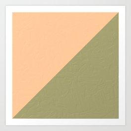 Green & Desert Mist powdery sands  Abstract shapes _oil digital painting  Art Print