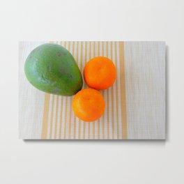 Fruit avocado and oranges. Metal Print