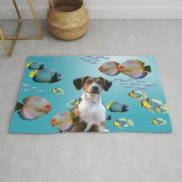 Tropic Fishes with Jack Russell Dog Rug