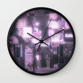 Tokyo Nostalgic / Shinjuku Kabukicho Street Photography Wall Clock