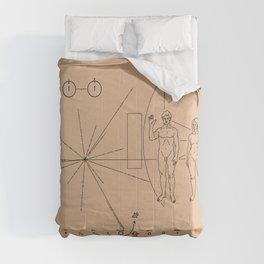 Nasa Pioneer Space Craft Plaque Alien Message Comforters