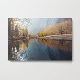 Yosemite Reflections, Swinging Bridge | Fall Colors Metal Print