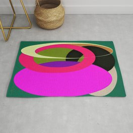 Abstract Composition in Green and Fuchsia Rug