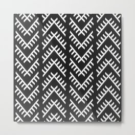 Stitched Arrows in Black and White Metal Print