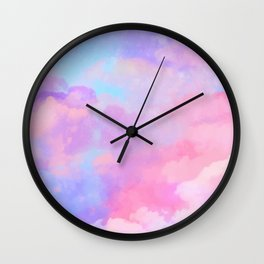 DREAMER Aesthetic Pink Clouds Wall Clock