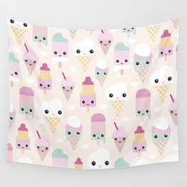 Cute kawaii summer Japanese ice cream cones and popsicle p Wall Tapestry