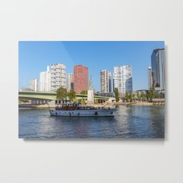 Statue of Liberty and beaugrenelle district - Paris, France Metal Print
