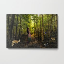 Emily and the Forest Animals Metal Print