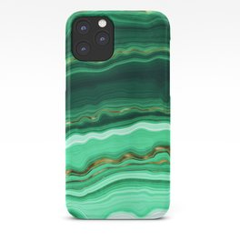 Gold And Malachite Marble iPhone Case