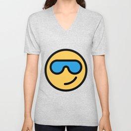 Smiley Face   Cool Sunglasses Happy Face   Cute Blue Glasses Unisex V-Neck