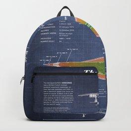 Concorde Supersonic Airliner Blueprint (dark blue) Backpack