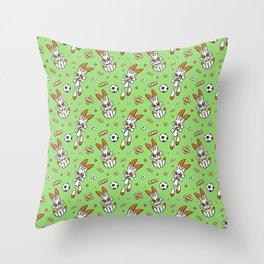 Soccer Bunny Hotshot Throw Pillow