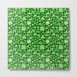 Lucky Green Watercolour Shamrock Pattern Metal Print