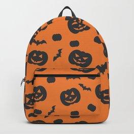 Halloween Pumpkins And Bats Pattern - Orange And Black Print - Cute / Spooky Backpack