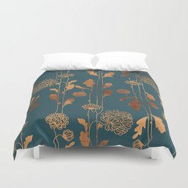Art Deco Copper Flowers  Duvet Cover