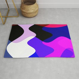 Geometric Abstract Colorful Art Retro Waves Pattern Rug