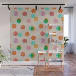 Smiley Face Stamp Print Wall Mural