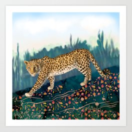 The Amur Leopard in the Woodlands Art Print