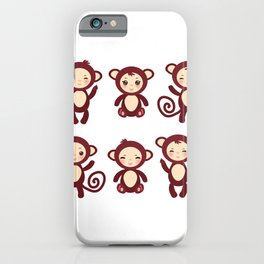 Set of funny brown monkey boys and girls on white background. Vector illustration iPhone Case