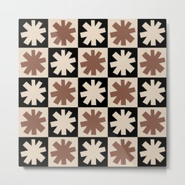 Mid Century Modern Check and Star Pattern 250 Beige Black and Brown Metal Print