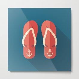 Red Beach Flip Flops Metal Print