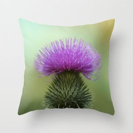 Bright Purple and Green Thistle Throw Pillow