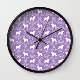 Bichon Frise dog florals silhouette lilac and white minimal pet art dog breeds silhouettes Wall Clock