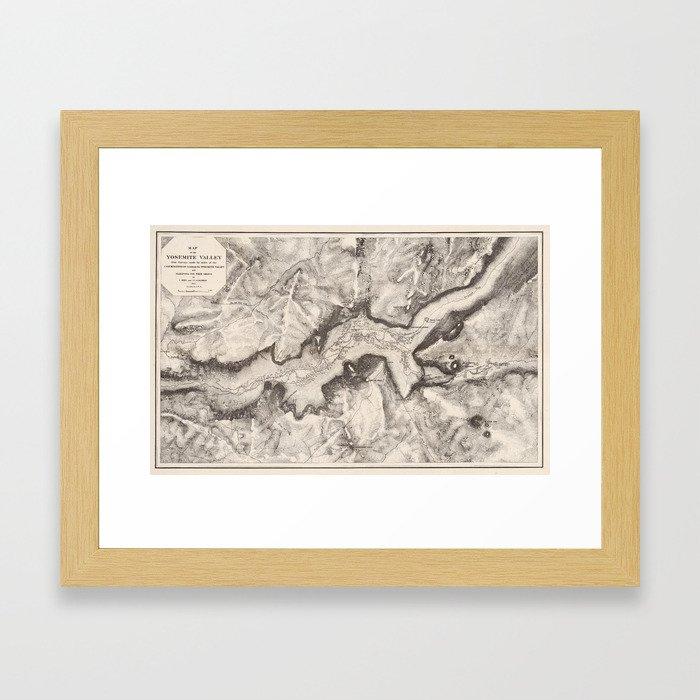 Vintage Map of Yosemite Valley (1870) Framed Art Print