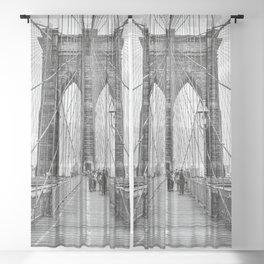 Brooklyn Bridge, New York City (rustic black & white) Sheer Curtain