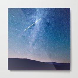 Navy blue blush pink starry night landscape Metal Print